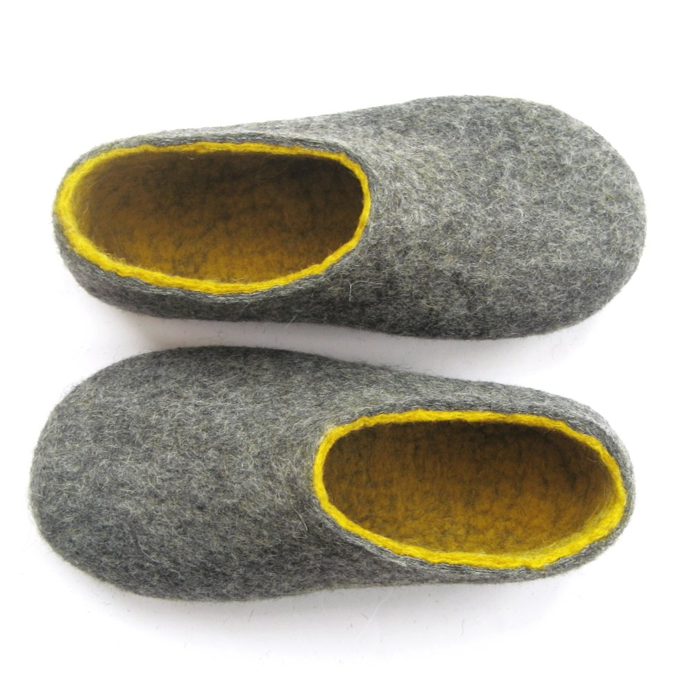 Felted house Shoes Gray Yellow with Non Slip Rubber Sole2 women sizes.jpg