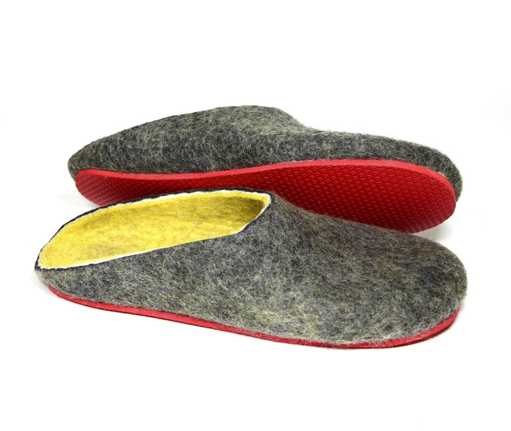 Unisex Wool Clogs Grey Yellow Red Soles  Felted Wool Slippers 2.jpg