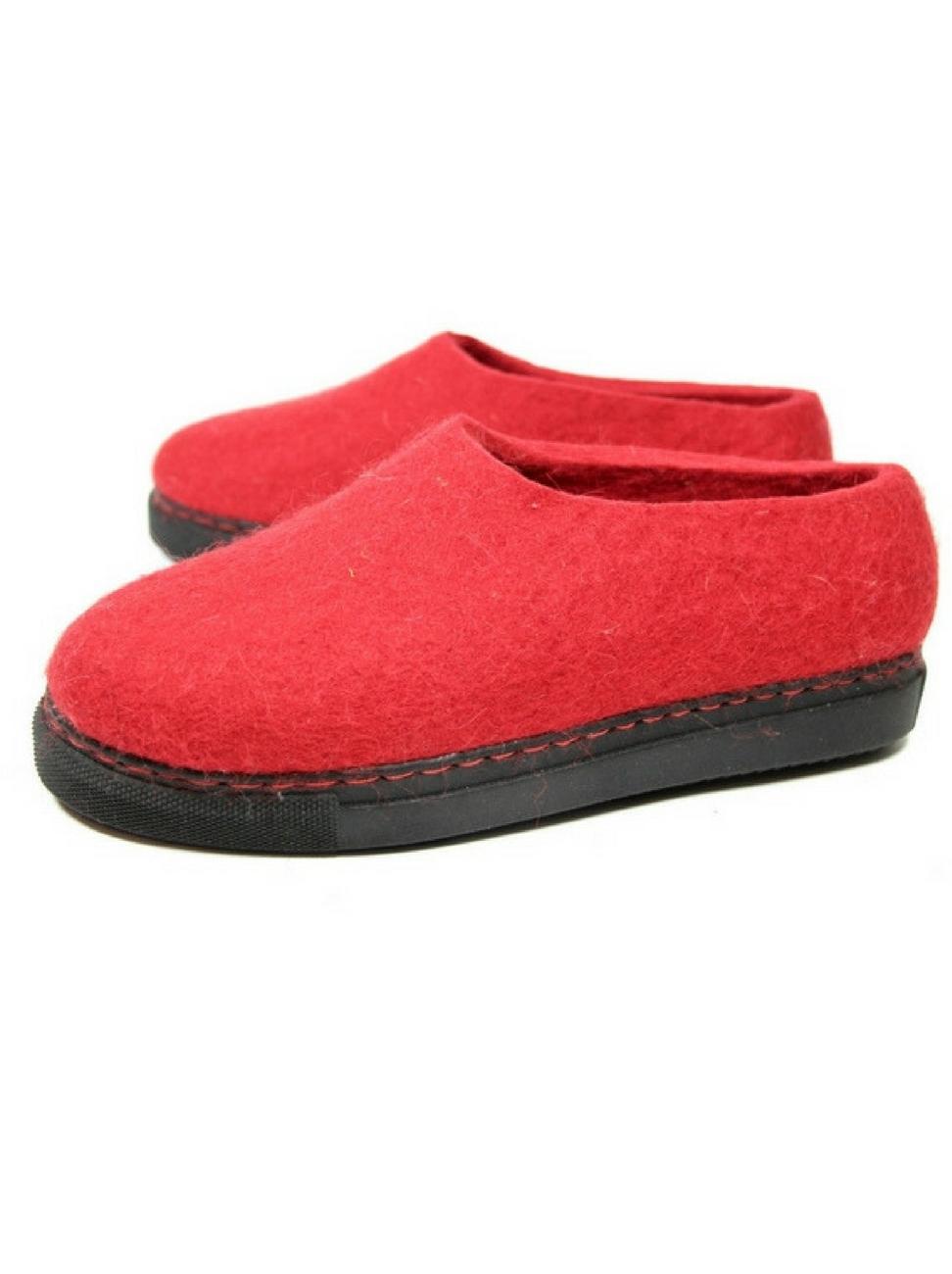 4de265bf264 Women s Organic Wool Loafers Mono Red — Handmade to order felt boots ...