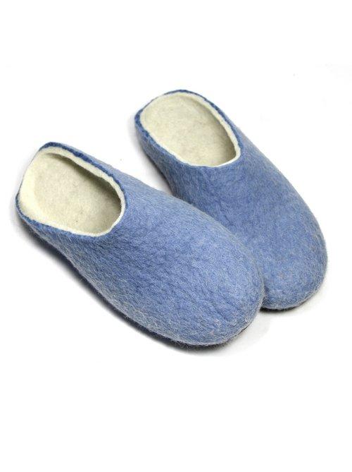 880a029591c Women s Wool Felt Mules Nordic Blue — Handmade to order felt boots ...