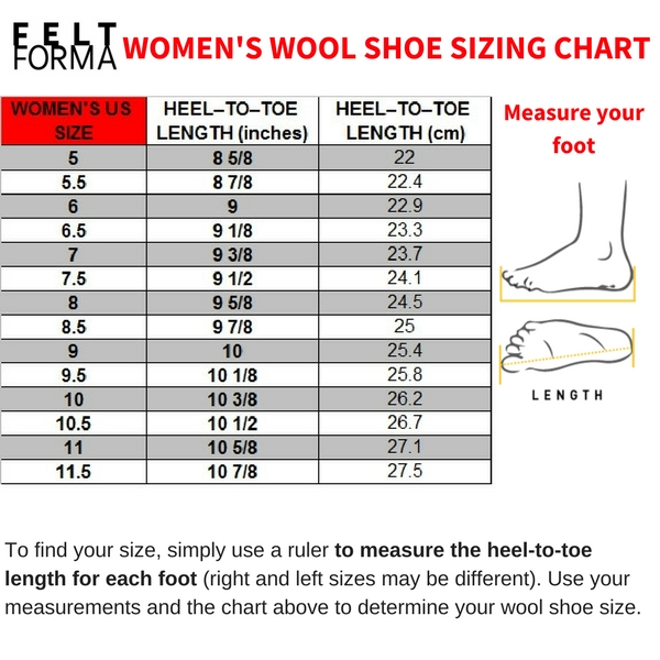 FELT FORMA felt shoes, wool mules, wool boots sizing table - WOMENS