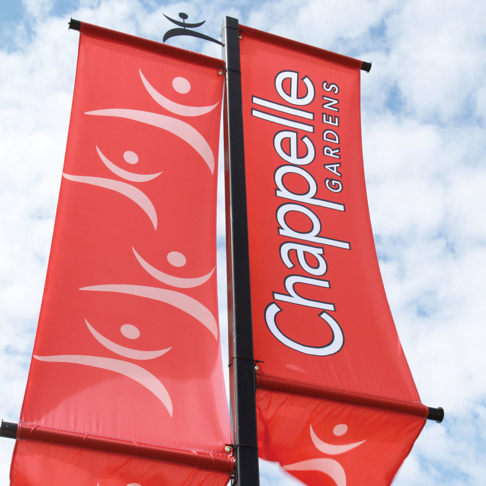 Chappelle Gardens Banner Flags  Copyright © 2005-2017 Consumer Strategies Group (CSG). All rights reserved.  This design is intended strictly for portfolio use only and cannot be reproduced in any way with out written consent from Consumer Strategies Group.