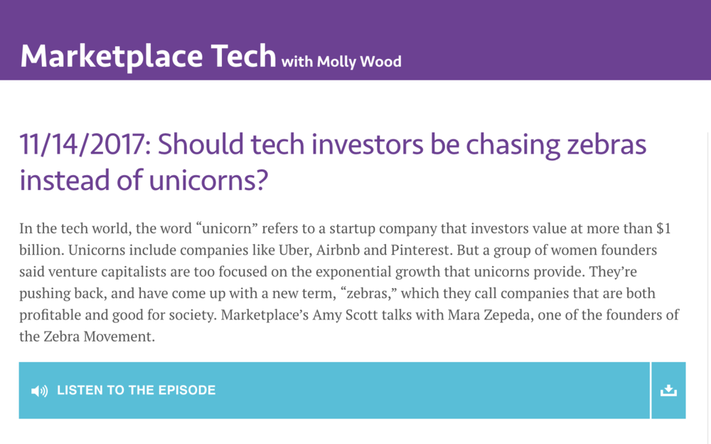 "Marketplace: "" Should tech investors be chasing zebras instead of unicorns?, "" 11/14/17"