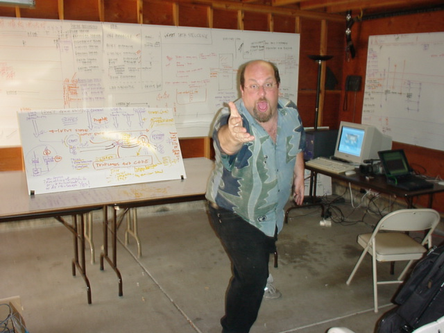I been starting and building software companies for over 30+ years. Here I am in my garage on Potrero Hill in SF with the architecture of an Interactive TV authoring system design - hanging on the walls.
