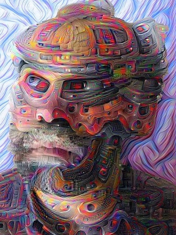 "This is self-portrait Steve created utilizing ""deep learning"" algorithms - that he fucked with."