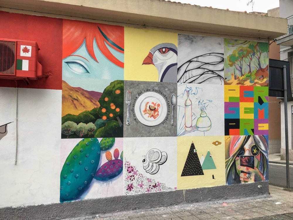group mural in the town centre