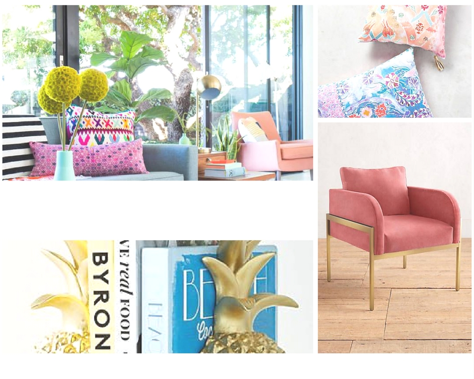 Shop-Clockwise:  1.  Living Room  2. T  ali Pillows    3.  Velvet Ardmore Chair  4.  Pineapple Book Ends