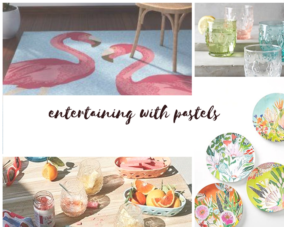 Shop-Clockwise:  1.   Flamingo Rug  2.  Fleur-e Lys Tumblers  3.  Melamine Dinner Plates  4.  Alfresco Dining