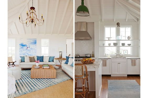 A quintessential beach house living room with a large painting by  Isca Greenfield Sanders