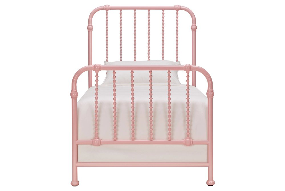 Mavis Wavy Twin Spindle Metal Bed in Powder Pink