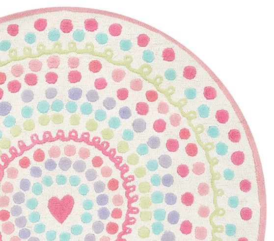 Heart Dot Round Rug