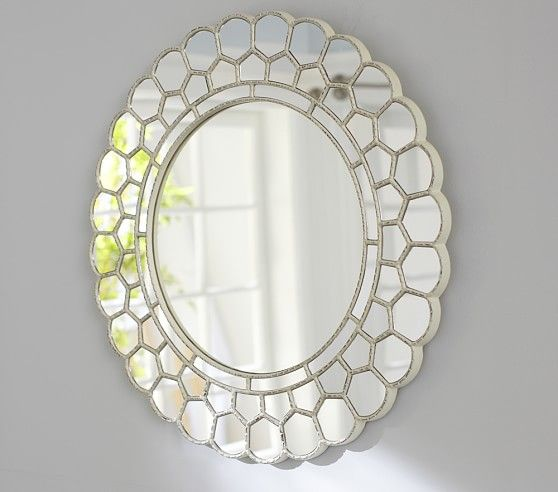 White Circle Blossom Mirror