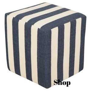 Blue and White Striped Pouf
