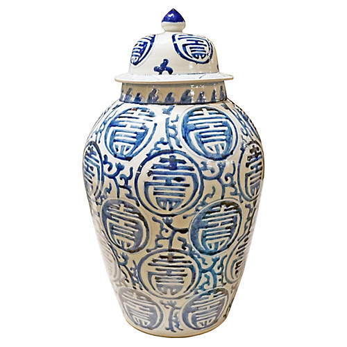 Longevity Heaven Jar-Blue and White