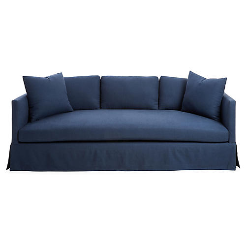 Cara Skirted Sofa/Navy Blue