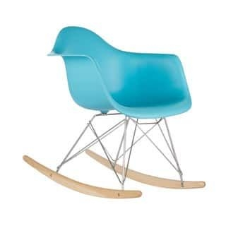 Poly and Bark Blue Rocker Lounge Chair