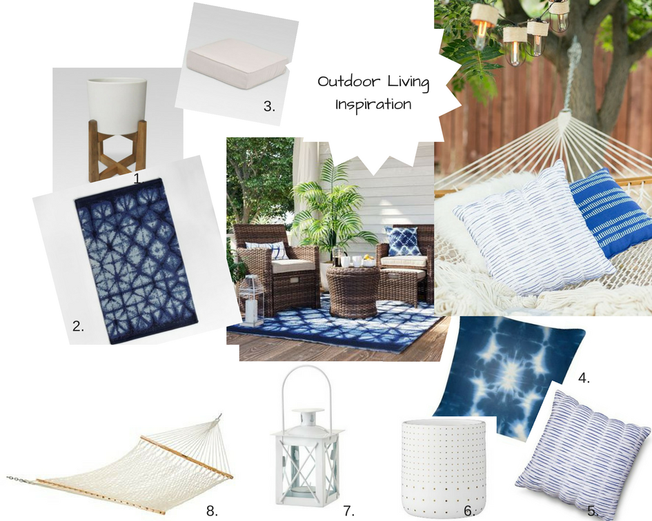 1.  White Planter  2.  Tie-Dye Outdoor Rug  3.  Outdoor Seat Cushion  4.  Tie-Dye Pillow  5.  Blue and White Pillow  6.  White Ceramic Outdoor Planter  7.  White Lantern  8.  White Hammock