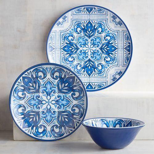 Mykonos Tile Melamine Dinner Plates