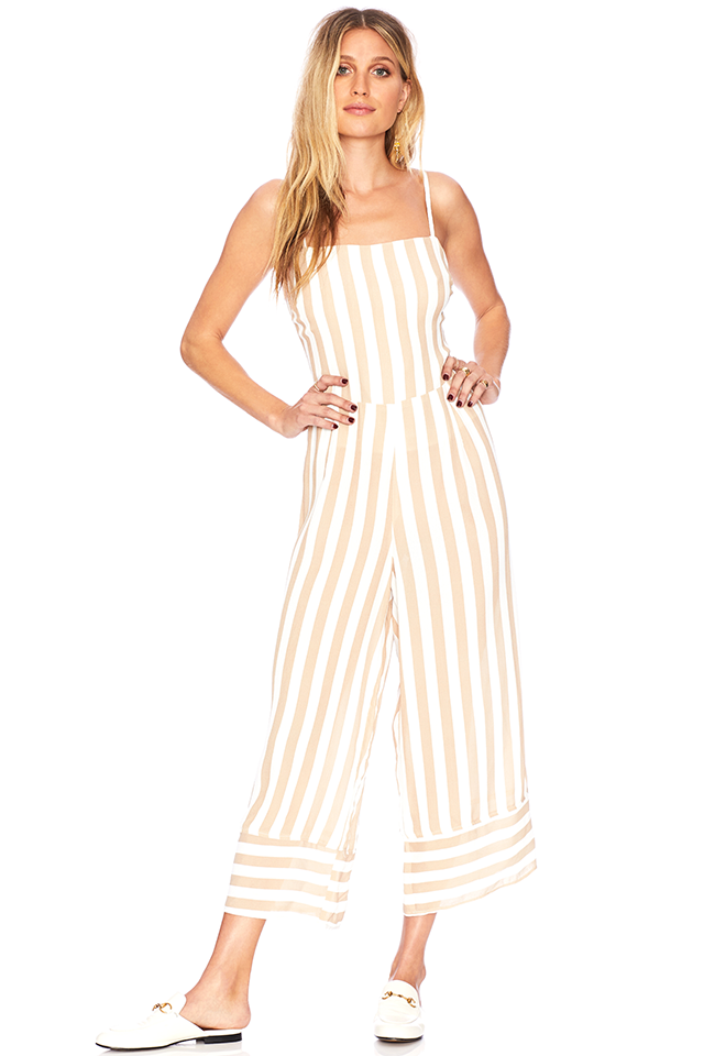 - The Savannah Jumper is a mid-length jumpsuit with spaghetti straps and lace up back detail