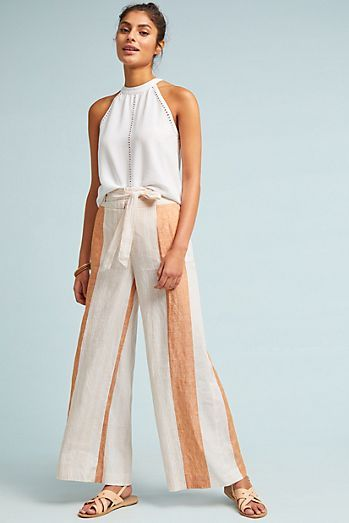 - In a classic striped print, these lightweight linen pants have a wide leg for an ultra-breezy pair.