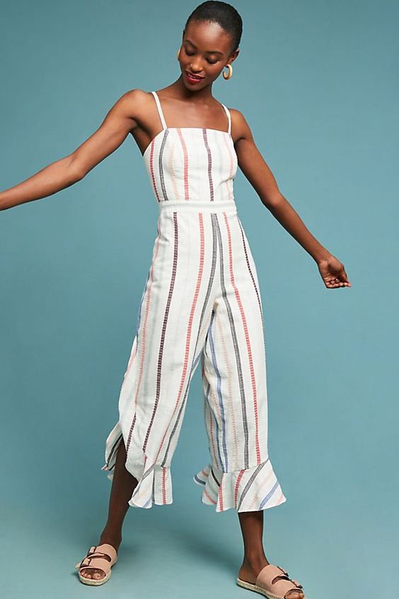 - Vertical stripes, a cinched waist, and a cropped, wide leg - what more could you ask for?