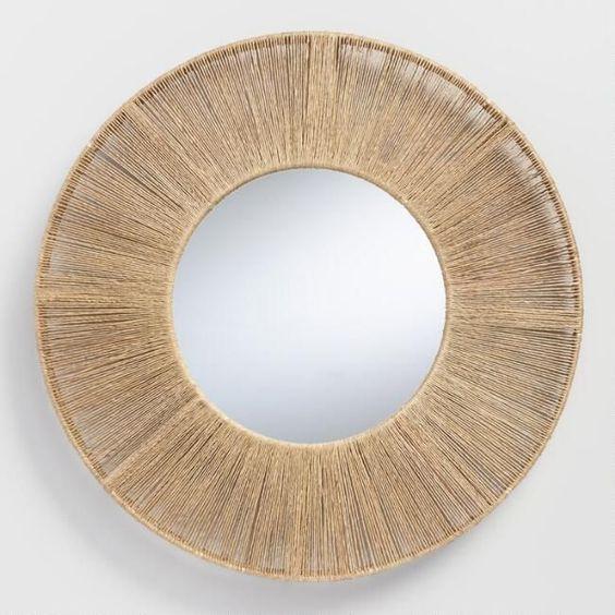 Round Jute Frame Mirror