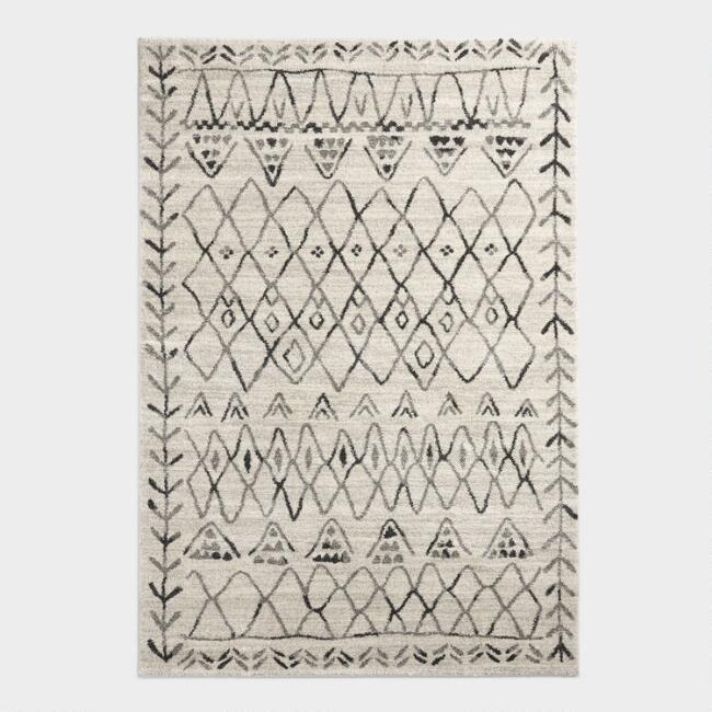Ivory and Black Moroccan Rug