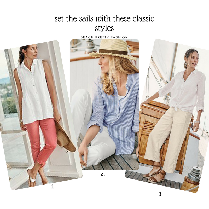 1.  White Blouse and Light Salmon Pants  2.  Blue and White Blouse and Linen Pants 3.  White Blouse and Linen Pants