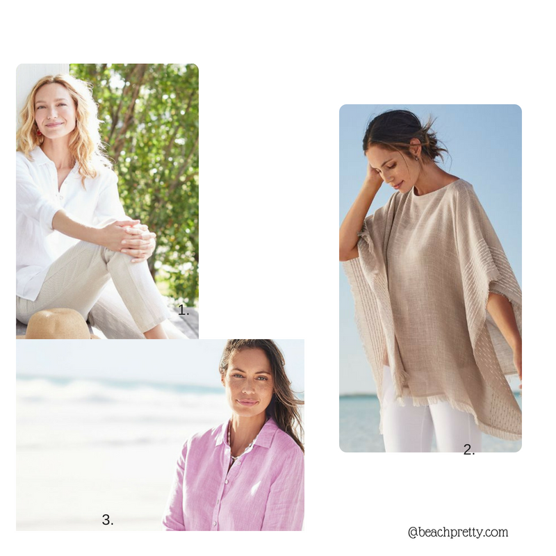 1.  White Tunic and linen crop pants . 2.  Poncho  3.  Lavender Linen Tunic
