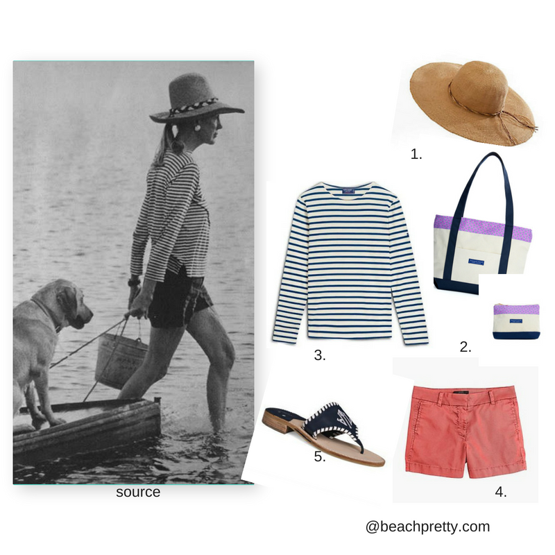 1.  Straw Hat  2.  Tote and Wallet  3.  Striped Pullove r 4.  Light Red Shorts  5.  Sandals 6. Picture   Source