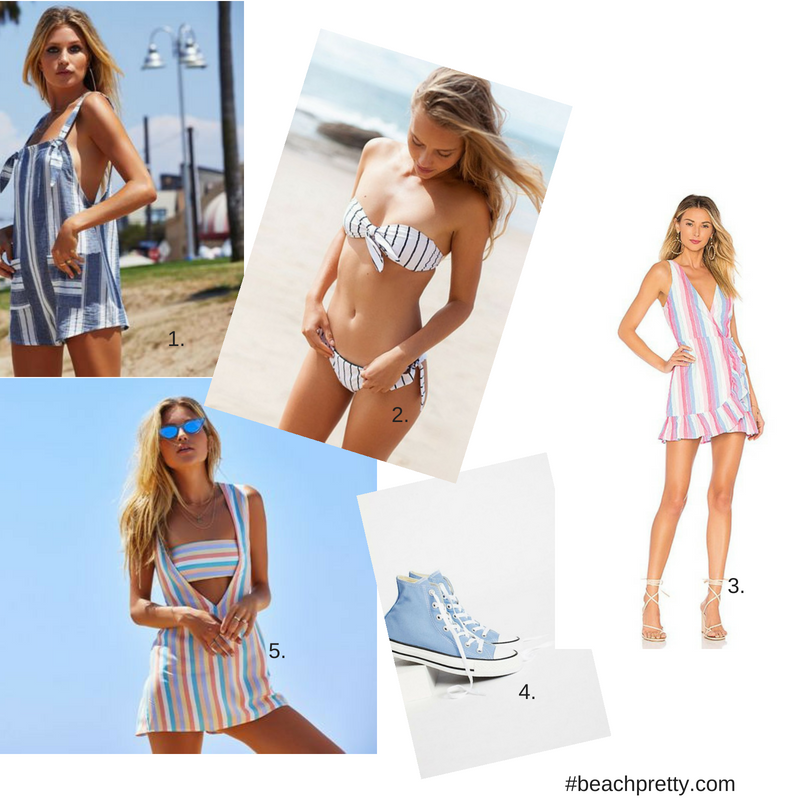 1.  Overall Shorts  2 . Blue & White Striped Bikini  3.  Pastel Striped Wrap Dress  4.  Light Blue Hi-Top Sneakers  5.  Striped Cover Up and Bikini