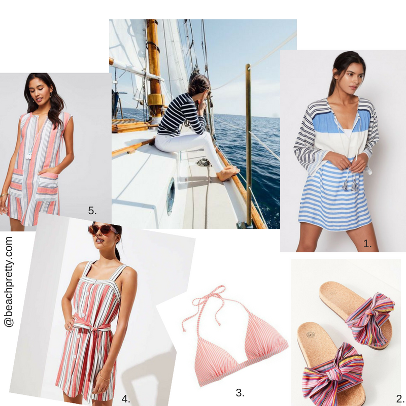 1.  Blue & White Striped Beach Cover Up  2.  Sandals  3.  Red & White Striped Bikini  4.  Striped Dress  5.  Pink, Blue and White Cover Up