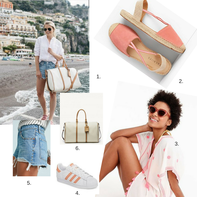 1.  Pink and white striped blouse  2.  baby pink espadrilles  3.  pink polka dot cover-up  4.  adidas pink striped sneakers  5.  denim cut-offs  6.  white overnight bag