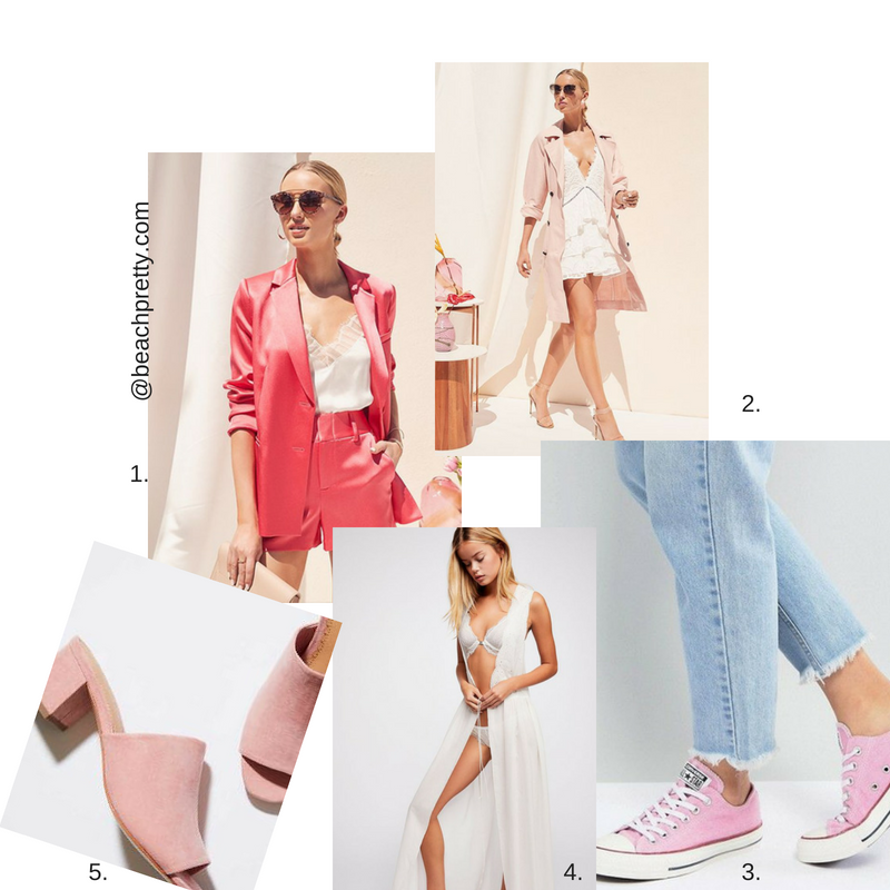 1.  Salmon pink suit  2.  light pink trench coat 3 .  pink converse sneakers  4.  Lingerie  5. li ght pink mules