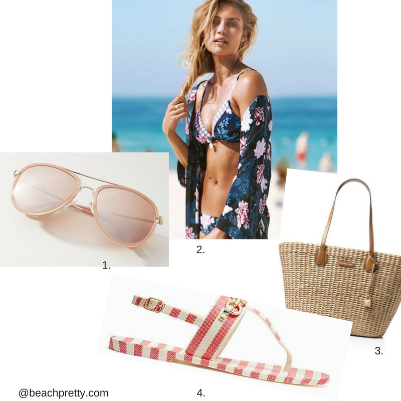 1.  Pink Sunglasses  2.  Kimono and Bathing Suit  3.  Straw Bag  4.  Pink and White Striped Sandals