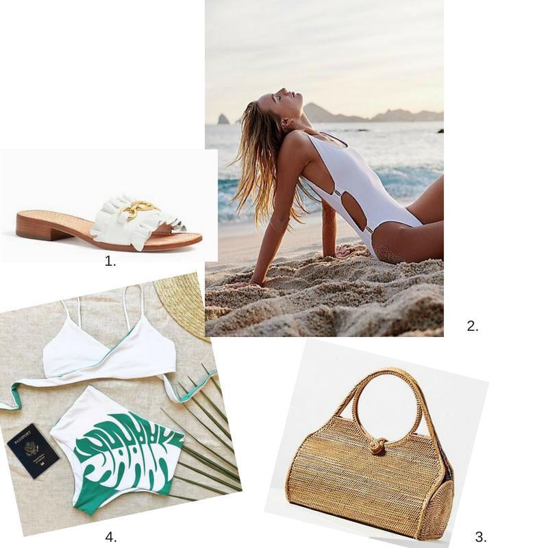 1. White Slip-On Sandals  2.  White One-Piece Bathing  Suit 3.  Straw Pocket Book  4.  High-Waisted Bikini