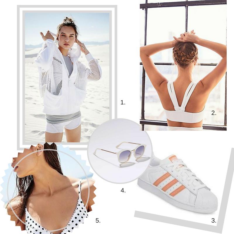 1.  Light-weight jacket  2.  White Sports Bra  3. Adidas Sneakers 4.  White Sunglasses  5.  White Bikini