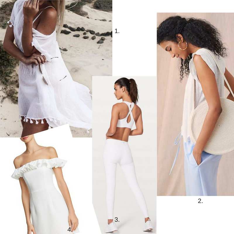 1.  White Sundress  2.  White Round Pocket Book  3.  White Work Out Outfit  4.  White Off-Shoulder Dress