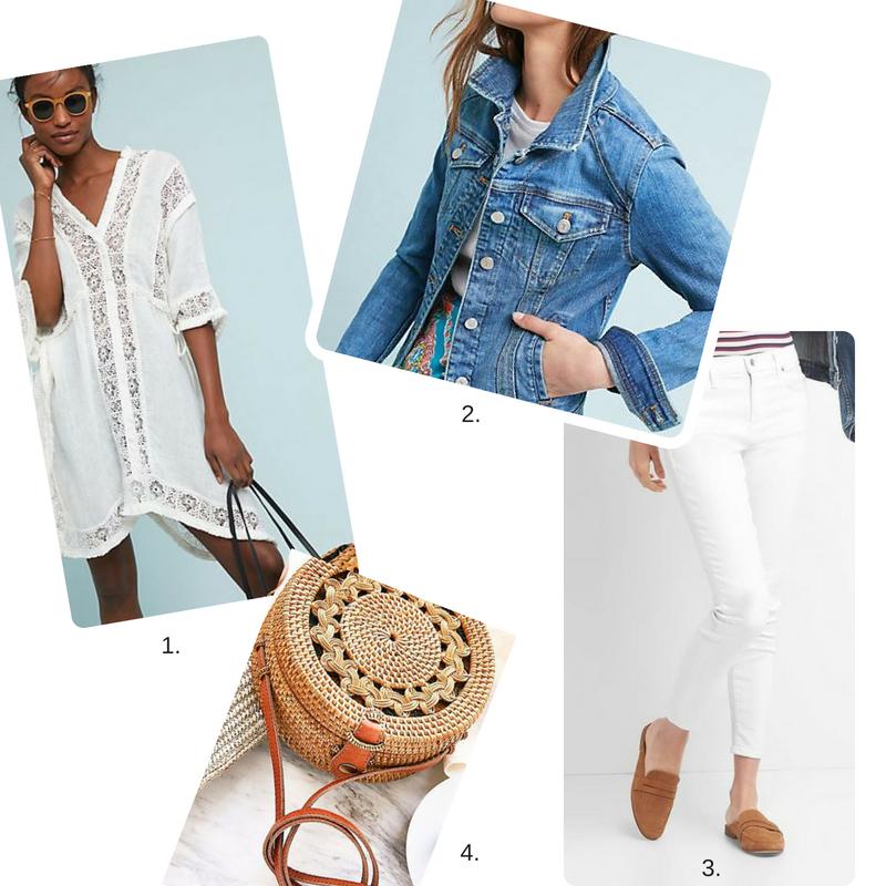 White Sundress 2  Denim Jacket  3.  White Jeans  4.  Round Straw Bag