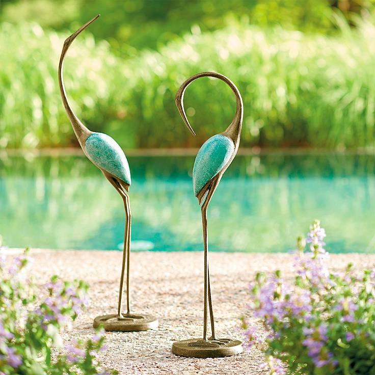Set of Two Crane Statues