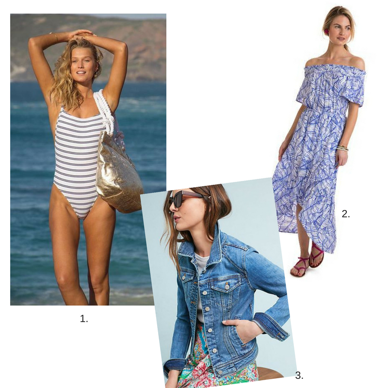 1.  Bathingsuit  2.  Dress  3  Jean Jacket