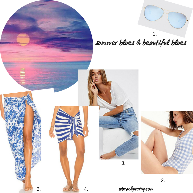 1.  Sunglasses  2.  One-piece bathing suit  3.  Jeans  4  Short Sarong  6.  Long Sarong