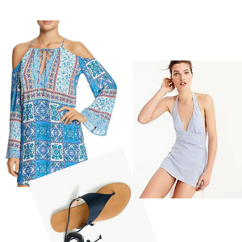 1.  Coverup  2.  One-piece bathingsuit  3.  Sandals