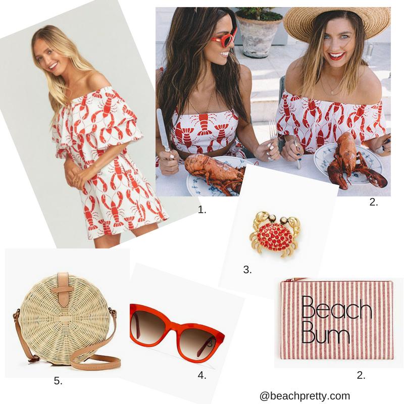1.  Lobster Dress  2.  Lobster Mid-Drift Top  2A.  Beach Bum Clutch 3 .Crab Studs 4 . Sunglasses  5.  Wicker Bag