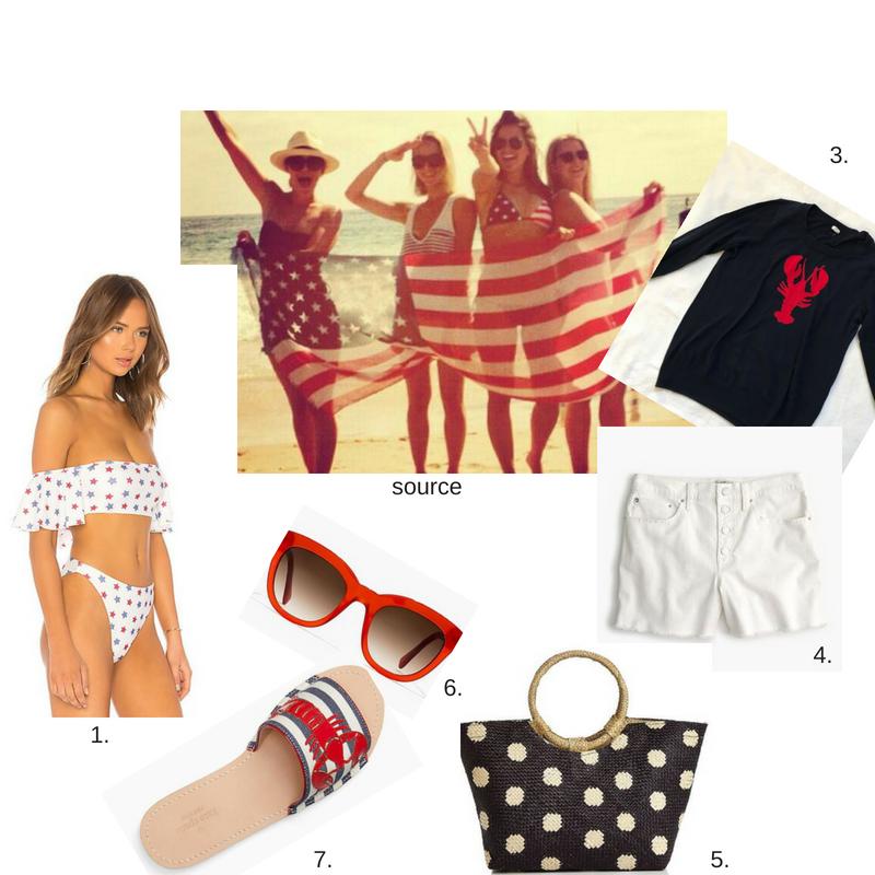 1.  star bikini  2.  source  3.  lobster sweater  4.  white shorts  5.  blue and white bag  6.  red sunglasses  7.  lobster slides
