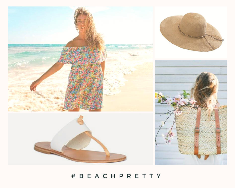 Clockwise: Floral Dress 2. Straw Hat 3 .Backpack 4. Sandals