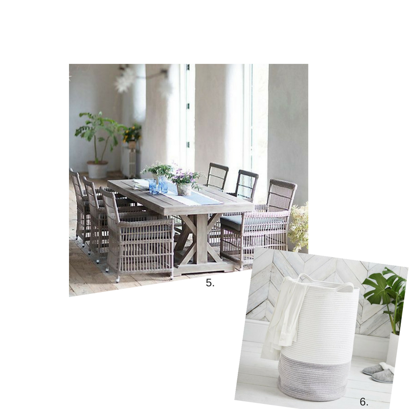 5.  Outdoor Table  &  Chairs  6.  Woven Laundry Basket