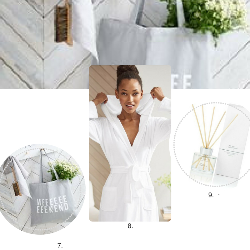 7.  Weekend Tote Bag  8.  White Cotton Robe  8.  Mustique Diffuser