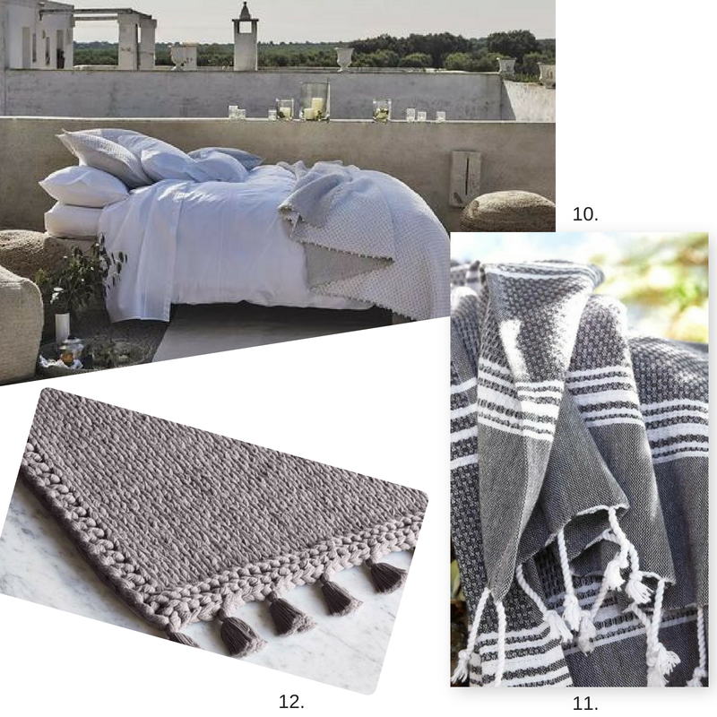 10.   Bedding  11.  Turkish Towels   12. Light Gray Rug