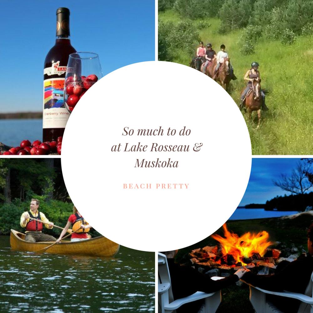 1.  Muskoka Winerys  2.  Winding Fences Farm  3. Canoeing 4. Relaxing on the Lake
